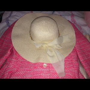 SHEIN Straw Hat with Bow NWOT